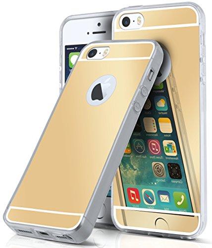 Spiegel iPhone 5S Hülle Silber Silikon [OneFlow Mirror Back-Cover] TPU Schutzhülle Dünn Handy-Hülle für iPhone 5/5S/SE Case Ultra-Slim Silikonhülle Rückseite GOLD