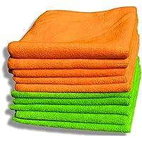 """Paquete de 10 paños de microfibras naranja y verde de calidad premium – Grandes 40cm x 40cm (16""""x16"""") – Paño de limpieza sin pelusa para la casa y el coche – Felpa ultrasuave – Absorbe 5 veces su peso"""