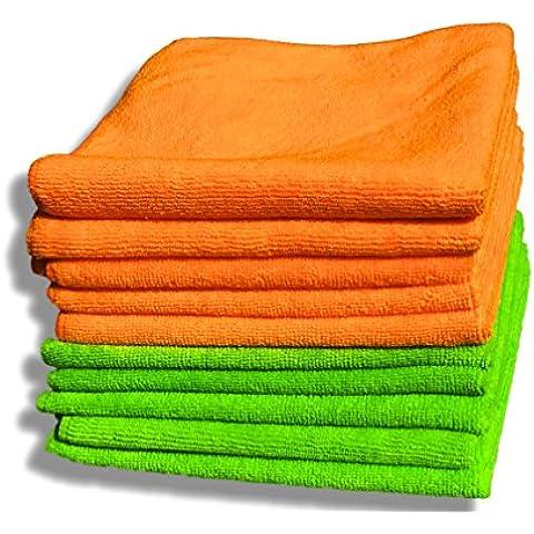 """Paquete de 10 paños de microfibras naranja y verde de calidad premium – Grandes 40cm x 40cm (16""""x16"""") – Paño de limpieza sin pelusa para la casa y el coche – Felpa ultrasuave – Absorbe 5 veces su peso – Devolución del 100% del dinero"""