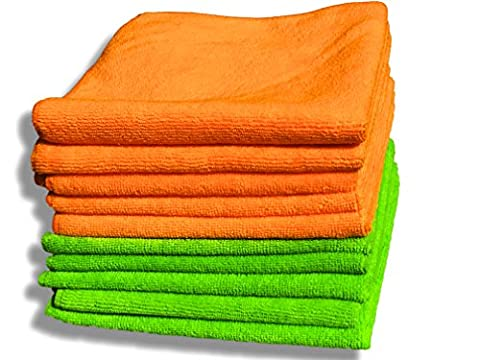 """10 Pack Premium Quality Orange & Green Microfibre Cloths - Large 40x40cm (16""""x16"""") - Lint Free Cleaning Cloth - House & Car - Plush Ultra Soft - Absorbs 5x its Weight - 100% Refund"""