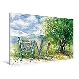 Calvendo Premium Textil-Leinwand 120 cm x 80 cm Quer, Baum und Zaun | Wandbild, Bild auf Keilrahmen, Fertigbild auf Echter Leinwand, Leinwanddruck Natur Natur