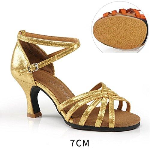 Wxmddn Chaussures De Danse Latine, Chaussures De Danse Adultes Or 7 Cm Doux Bottom Danse Chaussures Pratique Débutant Danse Extérieur Femmes Chaussures Or 7 Cm Pour L'extérieur