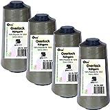 4 Stück Spulen Overlock - Nähgarn, grau, a. 2500 m, Nr. 120/2, 100% Polyester, Nähfaden, Nähmaschinen Garn, 3007-4er