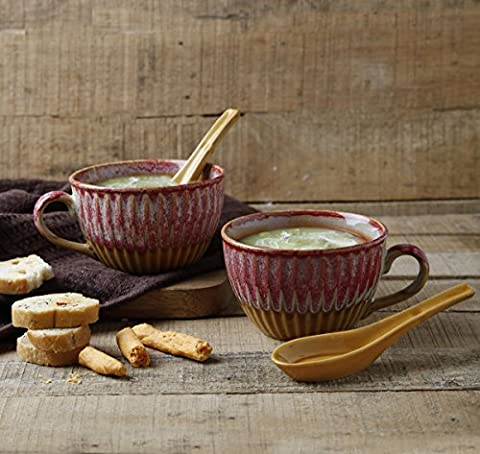 Store Indya 2-Piece Ceramic Soup Bowl Studio Pottery for Supper Noodles Cereal Handcrafted with Spoon Multicolored Mug Cup Serveware (Design 1)