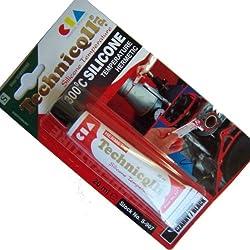 Technicqll Mastic adhésif silicone haute température Noir 20 ml Résistant à la chaleur jusqu'à 300°C