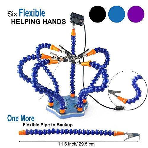 Support multifonction troisième main secourable , support mains libres pour travaux d'électronique et de soudure ( Bras de suspension flexibles de 7 bras ) by LITEBEE --- Bleu