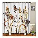 KnSam Duschvorhang Anti-Schimmel Wasserdicht Vorhänge an Badewanne Bad Vorhang für Badezimmer Löwenzahn mit Schmetterling 100% PEVA inkl. 12 Duschvorhangringen 180 x 200 cm