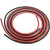 Cable de silicona - SODIAL(R)12 AWG 10 pies (3 m) Medidor de cables de silicona flexible de alambre trenzado de cobre para RC Negro + Rojo