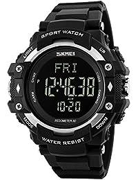 SKMEI 1180 Heart Rate Monitor Sensor Digital Smart Waterproof Sport Watch Silver With Health Activity Fitness...