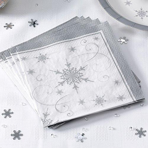 vietten Weihnachten Schneekristall 16 Stück - Advent Papierservietten Weihnachtsfeier Deko Servietten Schneeflocken ()
