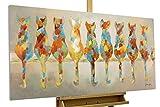 KunstLoft® Acryl Gemälde 'Wartende Grazien' 120x60cm | original handgemalte Leinwand Bilder XXL | Katzen Bunt Haustier Deko | Wandbild Acrylbild moderne Kunst einteilig mit Rahmen