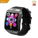 INDI Q18 Smart Watch Bluetooth Smartwatch mit Kamera SIM Slot TF Karte Smart Uhren für Android für Männer Handys Samsung LG Sony HTC Google Pixel Telefon (Schwarz)