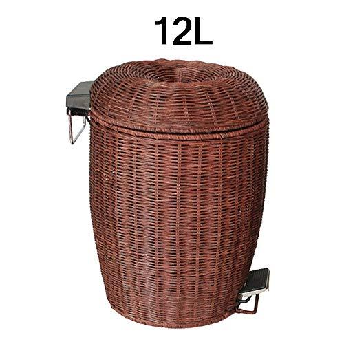 HAOMINGTIAN Bambus und Rattan, die mit Deckel-Fußpedal-Mülleimer, chinesischer Art runder kreativer Abfallbehälter Wohnzimmer Schlafzimmer-Küche-Abfallbehälter Spinnen (60 Kuchen-deckel Gold)