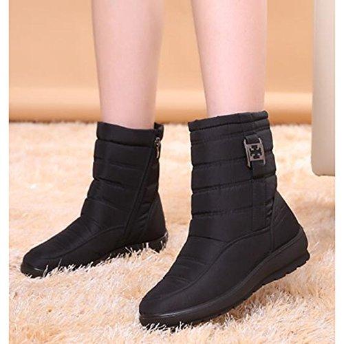 HSXZ Scarpe donna tessuto poliammide Fall Winter Snow Boots stivali tacco piatto rotondo Mid-Calf Toe stivali per Casual marrone nero rosso verde blu Blue
