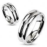 Edelstahl Ring - Zweifach konvex und spiegelpoliert, Bandring 6 mm breit 57 (18.1) Gr. 8