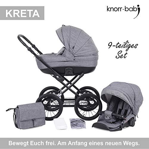 knorr-baby 3620-01 Kombikinderwagen KRETA, hellgrau mit Punkte, grau