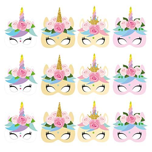 Einhorn Papier Masken,Kindermasken Pferd Einhorn,Foto Requisiten für Kinder Geburtstag Einhorn Parteien Gefälligkeiten,12 Stück ()