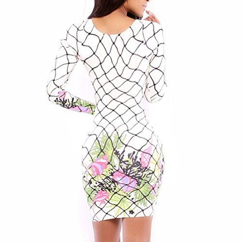 QIYUN.Z Damen Weiß Blume Blumen Bedruckt Frauen Reizvoller Bodycon Langarm Kleid Damen Kleid Weiße