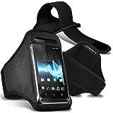 HTC U11 Armbänder Hülle Cover mit verstellbarem Klettverschluss zum Sport, im Fitnessstudio, beim Joggen, Laufen, Fahrradfahren, Radfahren Schutz - Schwarz / Black -Von Gadget Giant®
