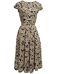 """New Rosa Rosa /""""Green Pink Ditsy Floral WWII 1930/'s//40's Vtg Land Girl Tea Dress"""