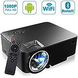 SEGURO Smart Android Projecteur 1080P Full HD Android 4.4 Mini WiFi Vidéoprojecteur 1500 Lumes LED Portable Projecteur de Vidéo Domestique Cinéma et Théâtre USB / HDMI / SD / VGA / AV Entrée pour TV, PC, Xbox, DVD, Jeux, etc.