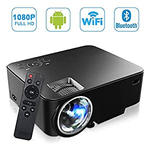 SEGURO Smart Android Projecteur 1080P Full HD Android 4.4 Mini WiFi Vidéoprojecteur 1500 Lumes LED Portable Projecteur de Vidéo Domestique Cinéma et Théâtre USB / HDMI / SD / VGA / AV Entrée pour TV, PC, Xbox, DVD, Jeux, etc.