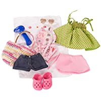 Gotz 3401754 Standing Doll Set Summer Fun - Size XL - Dolls Clothing / Accessory Set - Suitable For Standing Dolls Size XL (45 - 50 cm)