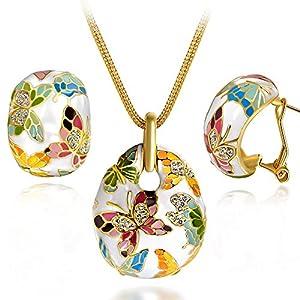 Kami Idea Damen Schmuck Set Halskette Ohrringe Versailles Frühling Handgemachte Emaille Schmetterling Vergoldet, Kommt in Eleganten Geschenk-Box