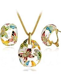 Kami Idea ❤Regalos San Valentin❤ Mujer Conjunto de Joyas Collar Pendientes Primavera de versalles Esmalte Mariposa Cristales Preciosa Austriacos, Libre de Alergias, con Delicadas Joyero