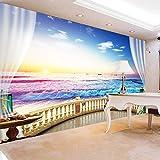 Carta da Parati Creativa della Foto 3D Paesaggio Moderno di Alba della priorità Bassa del sofà del Salone della Spiaggia Creativeize la Carta da Parati murale di personalità-450x300cm