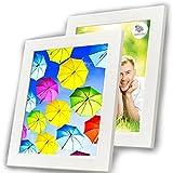 A4 Bilderrahmen Weiß (2 Stück) - Holz-Bilderrahmen mit Glasabdeckung - Rahmen für A4 (21x29,7 cm) Fotos ohne Passepartout oder A5 (15x21 cm) und A6 (10x15 cm) Fotos mit Passepartout - Hängend oder Stehend - Vertikal oder Horizontal