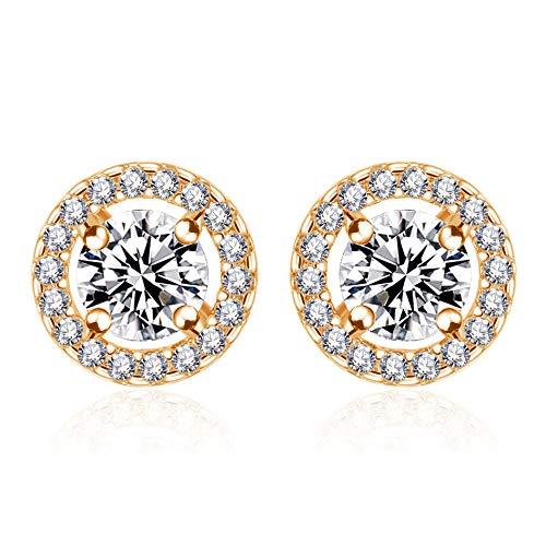 ZJLHN Ohrstecker Gold Damen, 925 Sterling Silber Ohrringe 6mm 3A Zirkonia Ohrschmuck,Gold-1cm