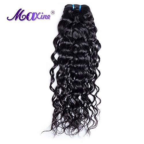 Maxine Unprocessed Brazilian Virgin Water Hair Extensions 1 Bundle, 100% Pure Real Brazilian Human Hair Weave, 9A Grade, Natural Black Color, Full Head 12 inches