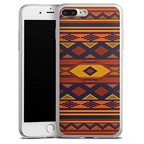 Apple iPhone 8 Plus Slim Case Silikon Hülle Schutzhülle Ethno Indianer Azteken Muster Silikon Slim Case transparent