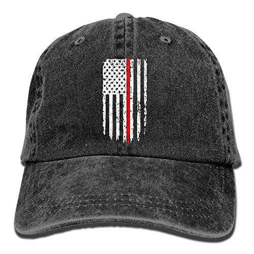 Zhgrong Caps Unisex Baseball Cap Hat Thin Red Line Flag Washed Jean Dad Hat for Women hat -