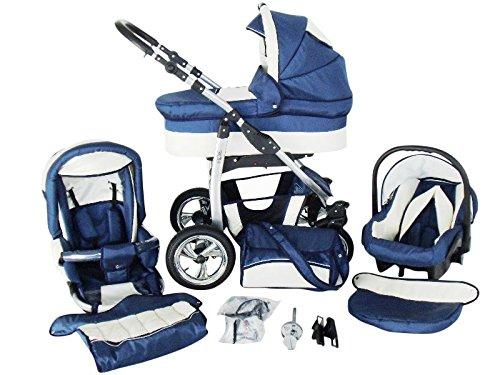 Chilly Kids Dino 3 in 1 Kinderwagen Set (Autosit & Adapter, Regenschutz, Moskitonetz, Schwenkräder) 18 Marine & Creme