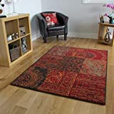 The Rug House Tapis Traditionnel Rouge, Marron & Gris - 8 Tailles Disponibles...