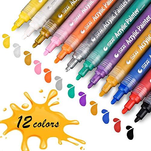 (Acrylstifte Marker Stifte, STA permanent marker 12 Farben mittlere Strichstärke, ungiftig, zum Bemalen von Papiere, Steinen, Holz, Keramik, Glas, und Ostereiern)