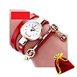 eBijoux 2065 - [BRAC ROSSO] Bracciale Orologio Donna da Polso - Con cinturino regolabile a 3 Clip - Quarzo - In Sacchetto vellutato Rosso e Oro - Regalo perfetto