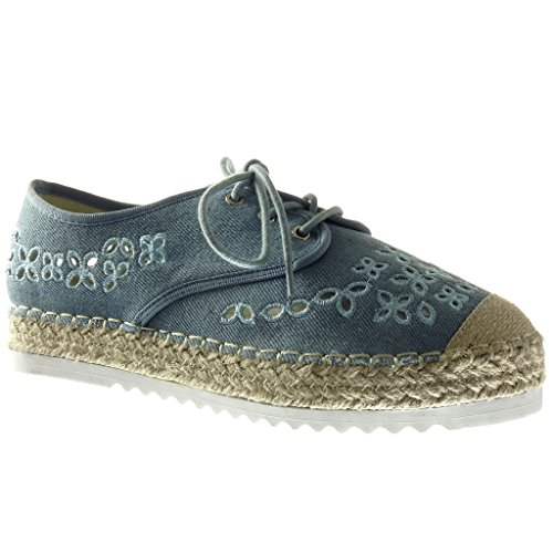 Angkorly Damen Schuhe Espadrilles Derby-Schuh - Plateauschuhe - Offen - Perforiert - Bestickt - Seil Keilabsatz High Heel 3 cm - Blau R9 T 39 (Derby Seil)