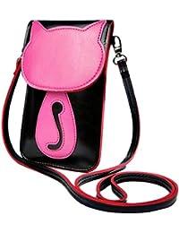 Süße bonbonfarbene Kunstleder-Umhängetasche | Schultertasche | Kosmetiktasche | Handytasche für Mädchen u. junge Frauen – Originelles Katzen-Design