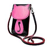 Süße bonbonfarbene Kunstleder-Umhängetasche | Schultertasche | Handytasche für Mädchen u. junge Frauen – Originelles Katzen-Design (Pink (Klein))