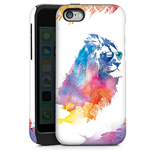Apple iPhone 5s Housse Étui Protection Coque Lion Peinture à l'eau couleurs Cas Tough brillant