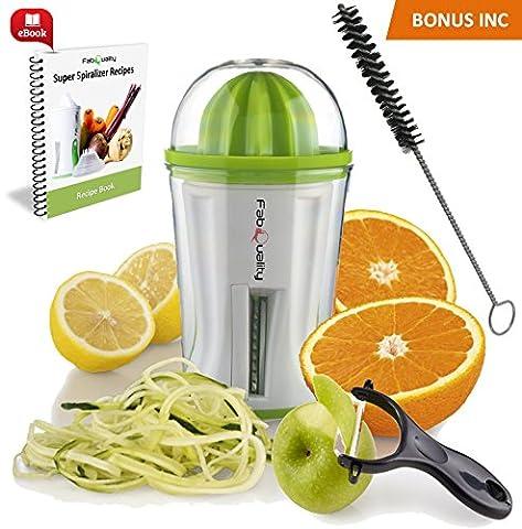 SONDERANGEBOT Spiralschneider Hand für Gemüsespaghetti kartoffel - mit BÜNDEL Kochbuch und enthält die Bürste für die Reinigung - FabQuality Zucchini Spargelschäler, Gurkenschneider (2 in 1)