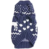Phenovo Pet Christmas Acrylic Fibre Knitted Sweater Cold Weather Coat For Dogs - Blue Xs,L, Xl
