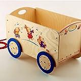 DIDA - Holzwagen mit Rädern für Gegenstände und Kinderspielzeug. Dekoration: musizierende Tiere.