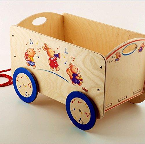 Dida - Carretto in legno trainabile porta oggetti e giochi per bambini. Decoro animali musicisti.
