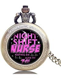 ShopyStore Relogio Feminino Fashion Night Shift Nurse Theme Glass Dome Pocket Watch With Necklace Ch