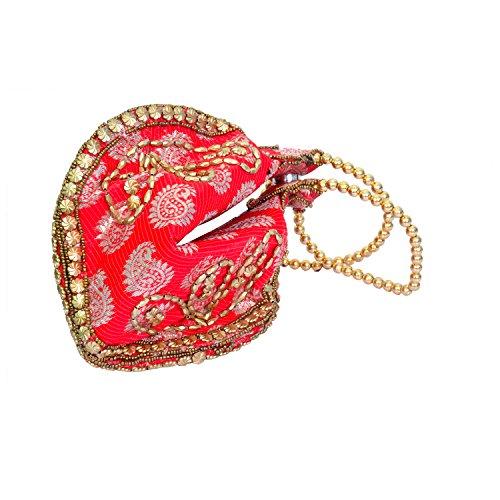 Craft Trade Handmade Red Samosa Desgin Potli Bag For Women's