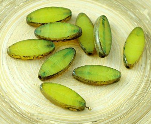 Amber Glas Schneiden (6pcs Picasso-Braun, Bernstein-Gelb Opal Gestreift Ovale, Flache Blütenblatt Tisch am Fenster Geschnitten, Tschechische Glas-Perlen 20mm x 9mm)